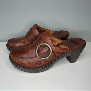 BORN Women's Brown Leather Boho Mule Clog Slip On